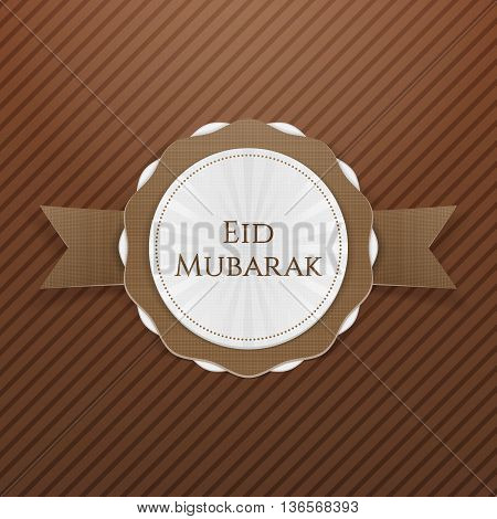 Eid Mubarak realistic greeting Emblem. Vector Illustration