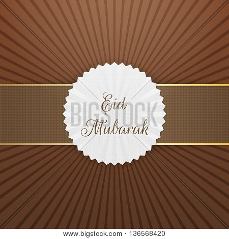 Eid Mubarak realistic Tag with Ribbon. Vector Illustration