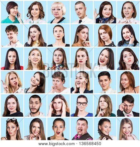 Collage of diverse people expressing different emotions over blue background