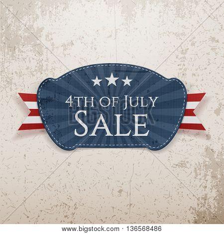 4th of July Sale Emblem. Vector Illustration