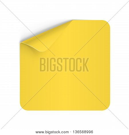 Illustration of Yellow Paper Notepad with Curling Coner