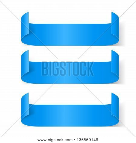 Set of Blue Paper Stickers Isolated on White Background for Design