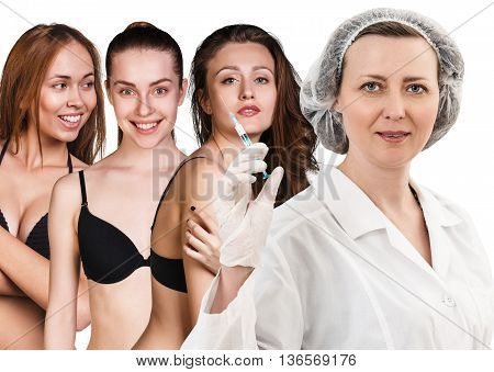 Female doctor with syringe with patients isolated on white