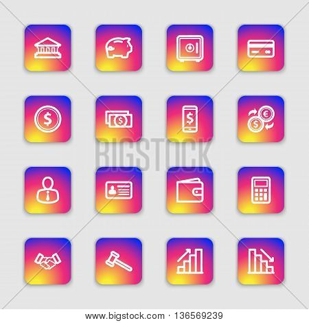 white line business finance and commercial icon set on colorful smooth gradient rounded rectangle with soft shadow for web design user interface (UI) infographic and mobile application