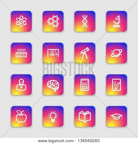 white line education and science icon set on colorful smooth gradient rounded rectangle with soft shadow for web design user interface (UI) infographic and mobile application