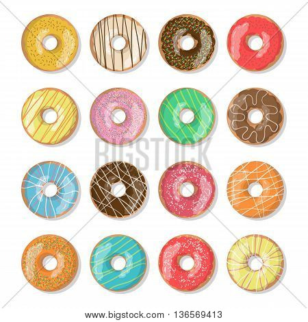 Set of 12 bright tasty vector donuts illustration isolated on the white background. Doughnut icon in cartoon style for donuts menu in cafe and shop