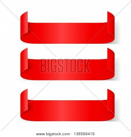 Set of Red Paper Stickers Isolated on White Background