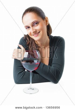 Beautiful Young Woman With A Glass Of Wine