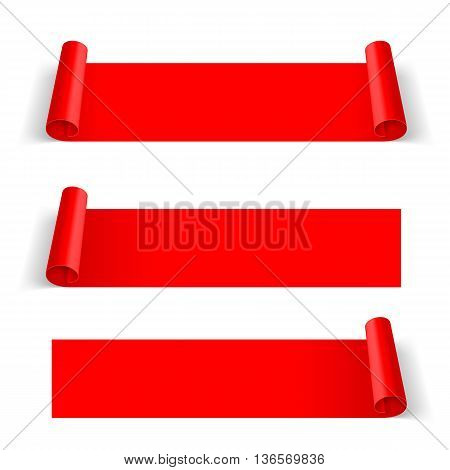 Set of Red Paper Stickers Isolated on White Background for Design