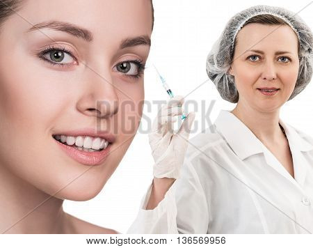Beautiful woman face near doctor with syringe isolated on white