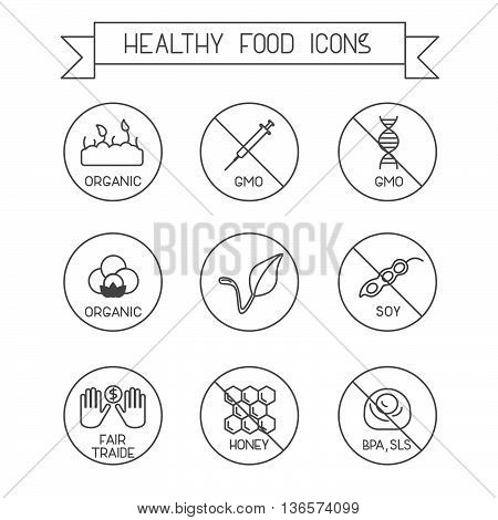 Set of modern line design icons. Use it for marking packs of healthy food free of gluten, sugar, gmo, milk, trans fat,eggs,nuts,soy, honey, bpa, sls. Vegan, fair traide, organic marking.