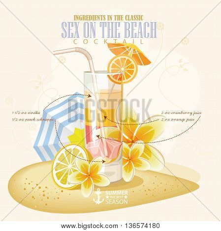Vector illustration of popular alcoholic cocktail. Sex on the beach club alcohol shot.