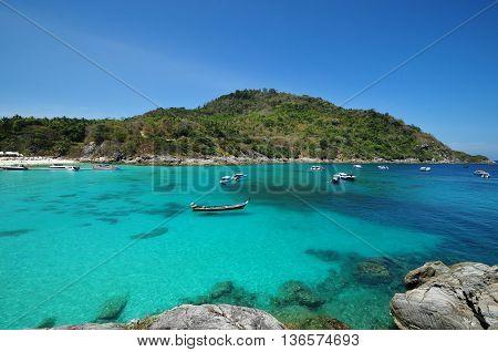 Raya Tropical Island And Sea View. Thailand Summer Nature