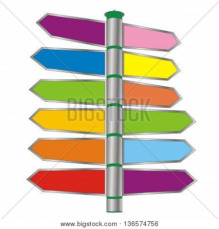 Illustration colored pointer arrows on the steel post directions