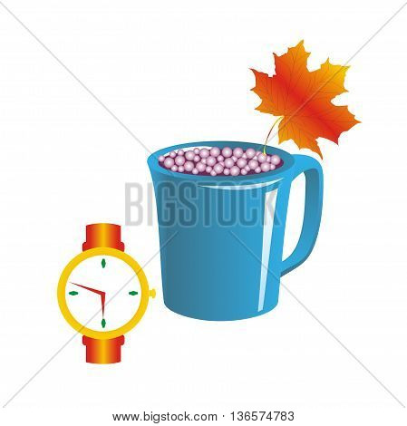 Illustration watch show time drinking carbonated drink in blue cup decorated with a maple leaf