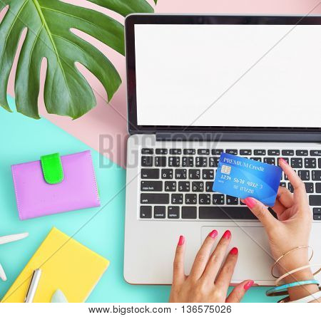 Computer Table Hands Girl Credit Card Concept