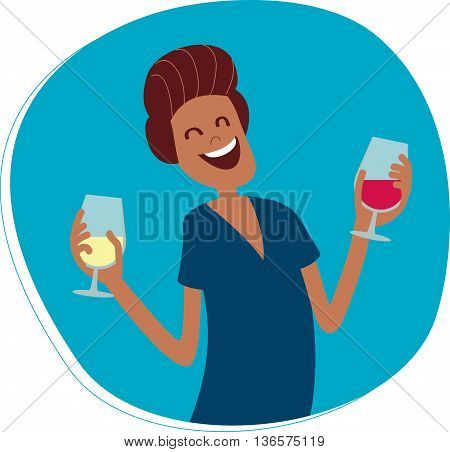 Perfect flat design illustration of wine topic. Man with wine glasses for your needs, web, banners, infographic, pack and other