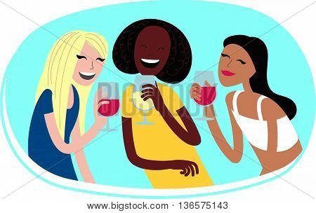 Perfect flat design illustration of party topic. Laughing girl for your web, banners, infographic, pack and other