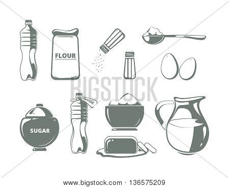 Baking ingredients monochrome vector set. Ingredient for cooking, illustration butter and flour for baking