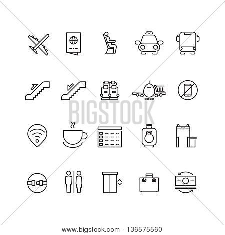 Airport thin line vector icons. Signs for airport wifi and coffee. Service airport for passenger illustration