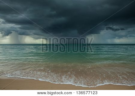 Rain storms are happening at the sea.