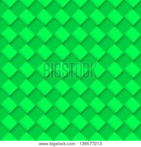 Green Seamless Pattern with Convex Square Design