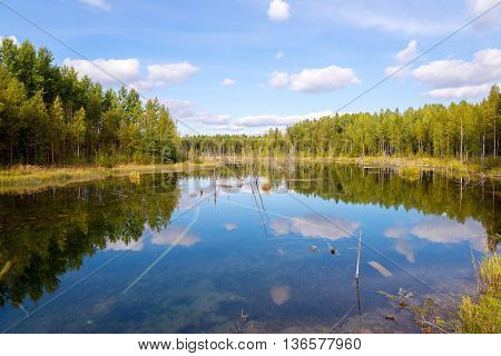 landscape in Russky Sever National Park Vologda region Russia