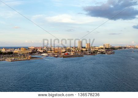top view of the bay in San Juan at sunset Puerto Rico