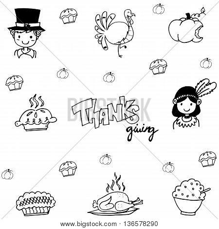 Eat element doodle of thanksgiving illustration vector
