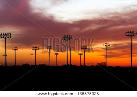 sunset view over the football training field in Beer-Sheva in Israel