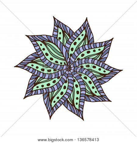 Zentangle mandala for scrapbooking and textile. Made by trace from personal hand drawn sketch. Medallion flower mandala print