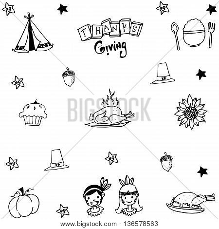 Thanksgiving doodle set with hand draw illustration