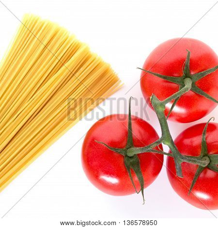 Simple spaghetti ingredients on white background viewed from the top