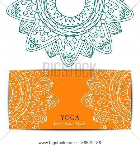 Gift card template for yoga studio or yoga class. Yoga retreat. Vector editable template