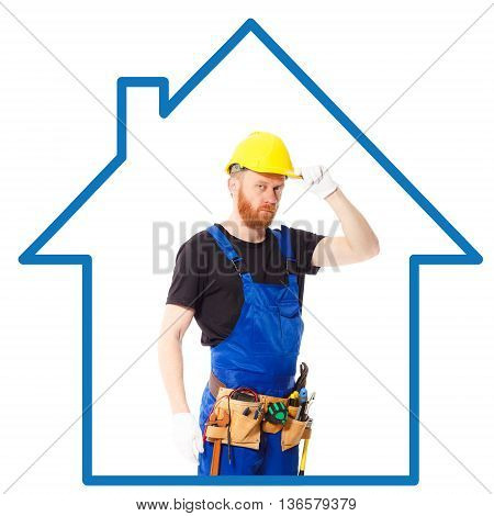 Man builder in the helmet and blue uniform with a belt of construction tools. Isolated
