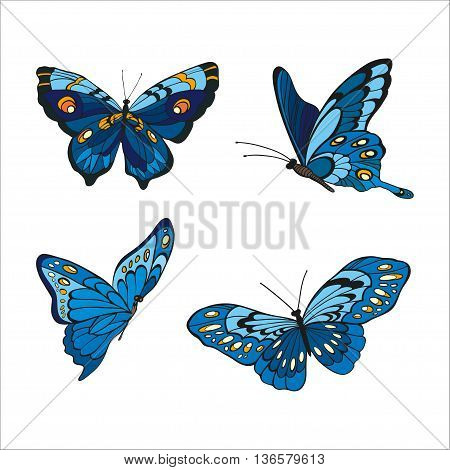 Hand-drawn blue butterfles on white background. Vector illustration