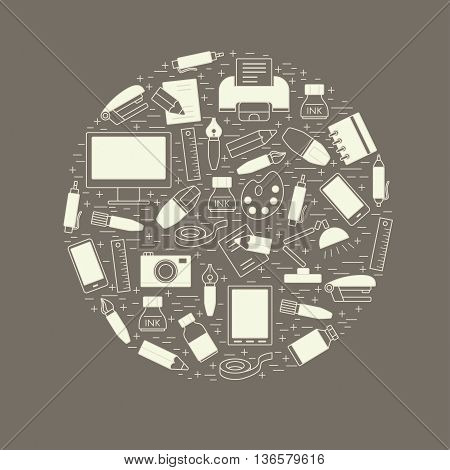 School and education design element arranged in a circle. Stationery and various school supplies design element for t-shirt poster banner