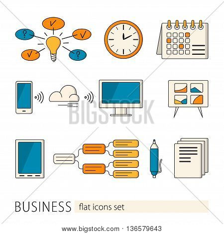 Elements and concepts of business office work. Colorful modern design vector illustrations