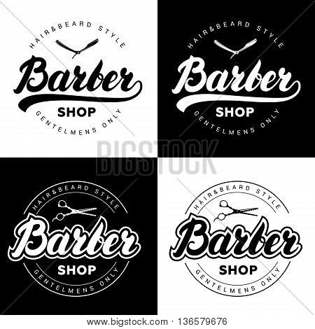 Set of vintage barber shop logos with hand written lettering. Badge, label, emblem. Vector illustration.