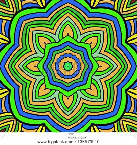 Square symmetrical pattern in green, blue and yellow colors. Mandala. Kaleidoscopic design.