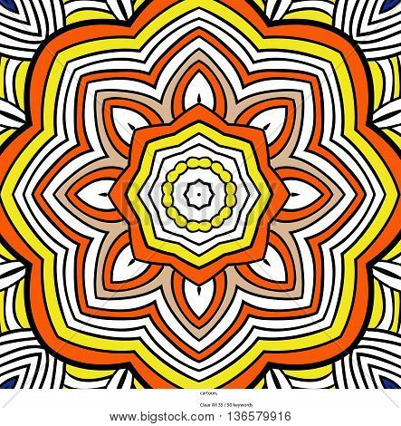 Round symmetrical pattern in red, yellow and white colors. Mandala. Kaleidoscopic design. Cinco de mayo. Ethnic background.