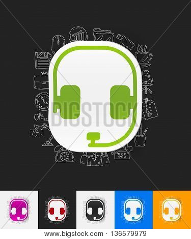 hand drawn simple elements with headphones paper sticker shadow