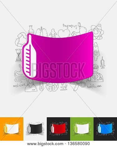 hand drawn simple elements with thermometer paper sticker shadow