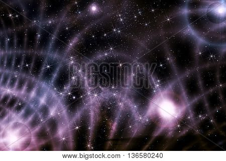 Colorful abstract background of deep space with stars nebulae and star dust in black and lilac colors