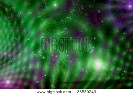 Colorful abstract background of deep space with stars nebulae and star dust in black green and purple colors