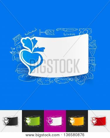 hand drawn simple elements with beet paper sticker shadow
