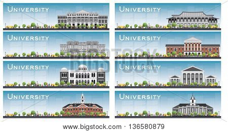Set of university study banners. Vector illustration. Students go to the main building. Skyline with blue sky and green tree. Banner with copy space.