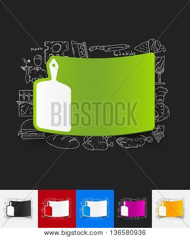 hand drawn simple elements with board paper sticker shadow