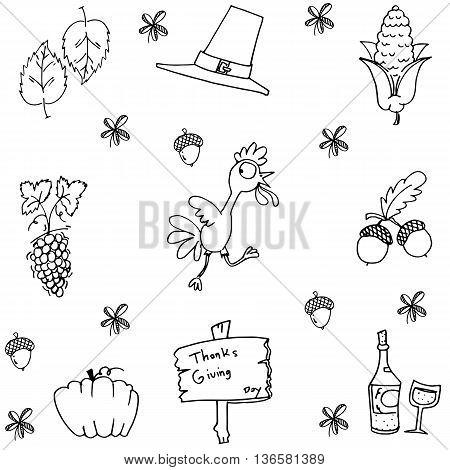 Doodle of thanksgiving fruit vector art illustration