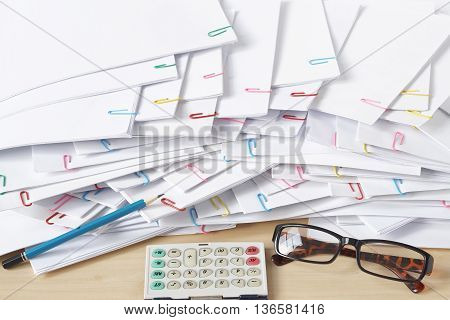 Pencil And Document Place Overlap With Paperclip On Wooden